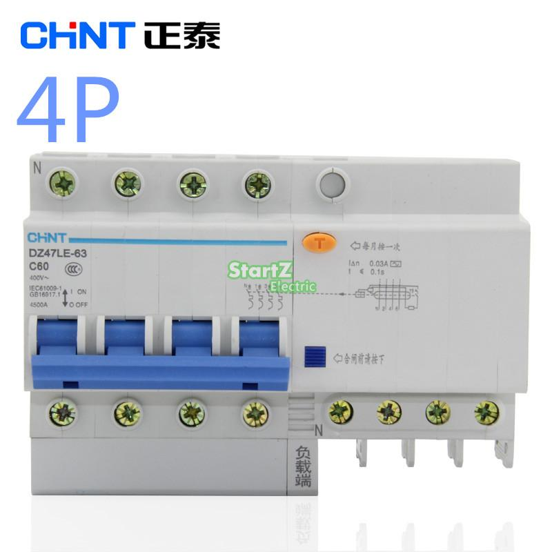 CHNT DZ47LE 4P  10A 16A 20A 25A 32A 40A 50A 60A  Residual Current Circuit Breaker RCBO