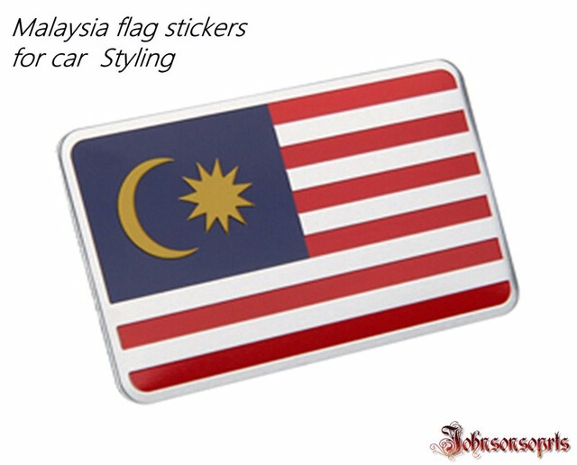 Wholesale 10 pcs malaysia united arab emirates indonesia flag sticker aluminum alloy flag badge decal car