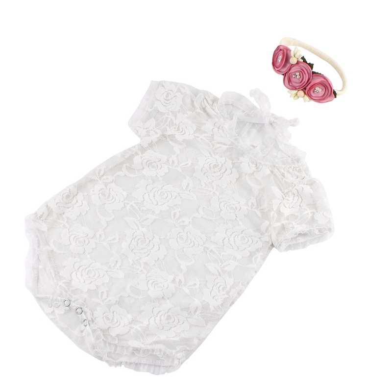 Детские Подставки для фотографий спинки с бантом кружевной костюм для новорожденных комбинезон повязка на голову одежда для маленьких детей для маленьких девочек фотосессия
