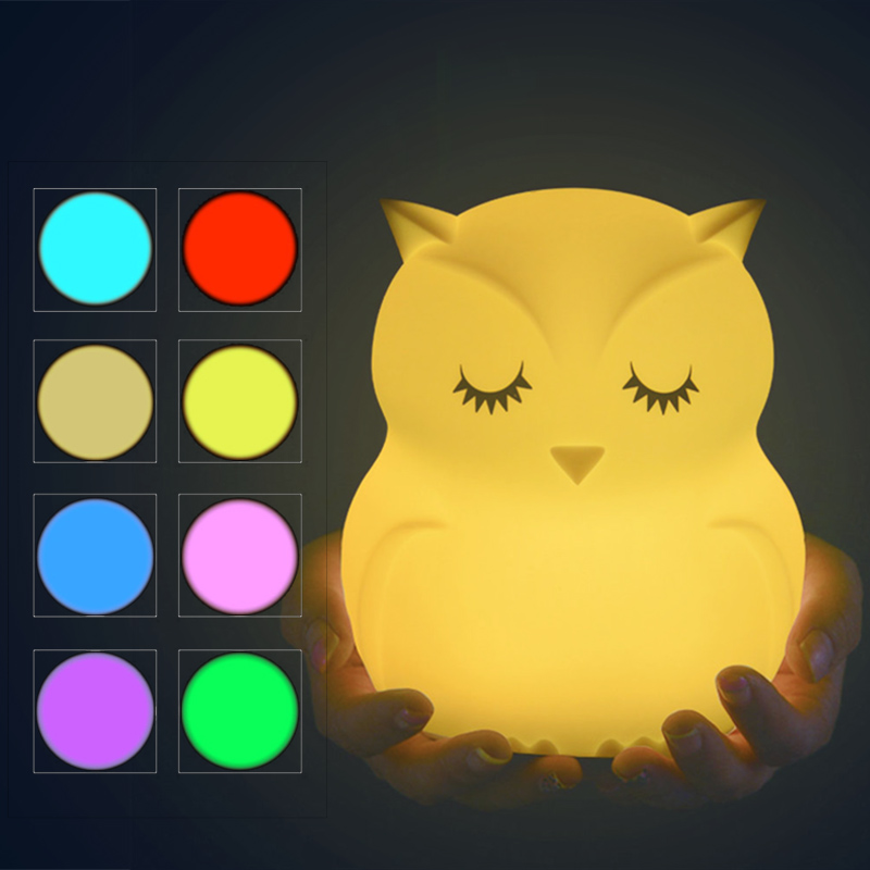 Cute Owl Cartoon Colorful LED Lamp Creative Silicone Night Light Children's Toy Lamp Bedroom Decoration USB Charging Light