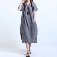 2017 New Women Short Sleeve Cotton Linen Dresses Summer Style Dress Casual Loose Retro Dress Vestidos