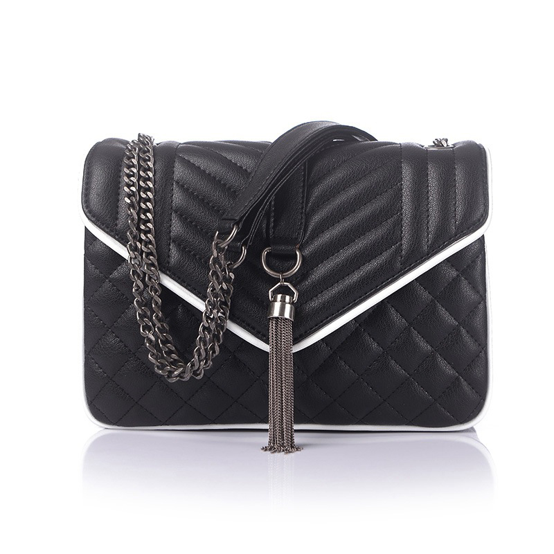 2018 New Women Bag Genuine Leather Handbag Lock Famous Brand Designer Letter Bag High Quality Black Lady Plaid Quilted Hand Bag