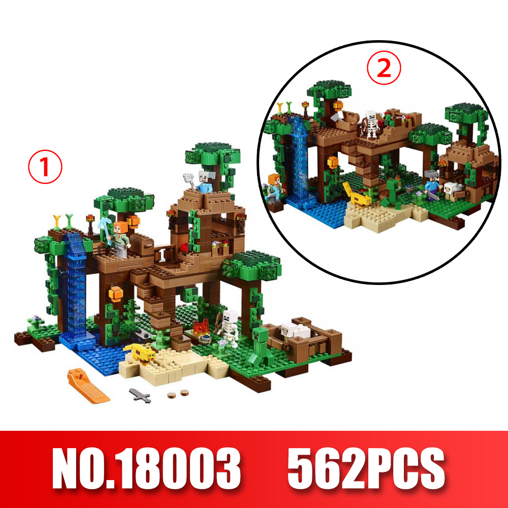 LEPIN 18003 Series The Jungle Tree House Model Building Blocks 718Pcs Compatible legoing Minecrafted Series 21125 DIY Toys 18003 model building kits compatible my worlds minecraft the jungle 116 tree house model building toys hobbies for children