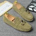 Primavera Outono Dos Homens Respirável sapatos Casuais sapatos de couro Rachado da Vaca Apartamentos Moda Masculina Loafers Mocassins Borla 2/5