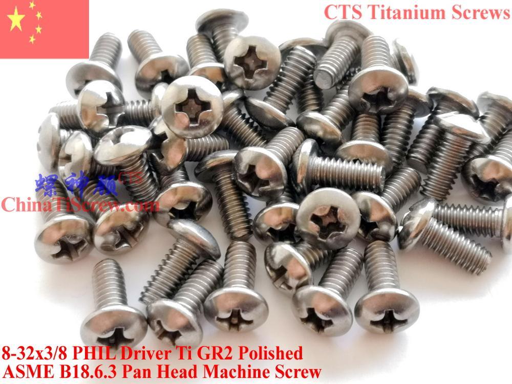 Титановые винты 8-32x3/8 сковорода головка 2# Phillips драйвер Ti GR2 полированная 50 шт