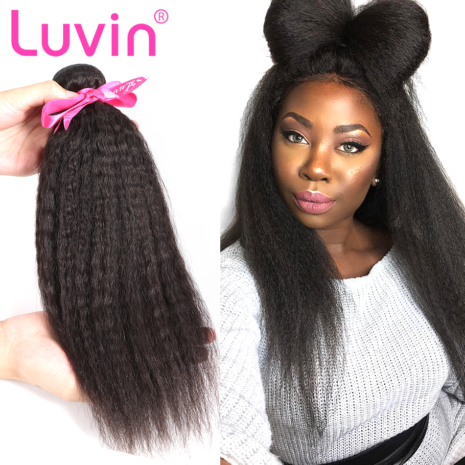 a9783112b56 US $38.44 57% OFF|Luvin Peruvian Virgin Hair Kinky Straight Hair 100%  Unprocessed Human Hair Weave Bundles Free Shipping-in Hair Weaves from Hair  ...
