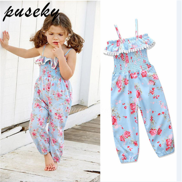 5ab75f8995f Puseky Pants For Girls Kids Casual Beach Overalls Child Teen Girl Princess  One-piece Playsuit Jumpsuit Children Overalls Floral