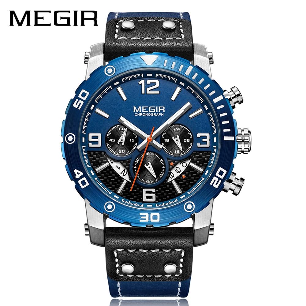 Creative MEGIR Chronograph Sport Men Watch Leather Strap Army Military Wrist Watches Clock Men Relogio Masculino Quartz Watch цена