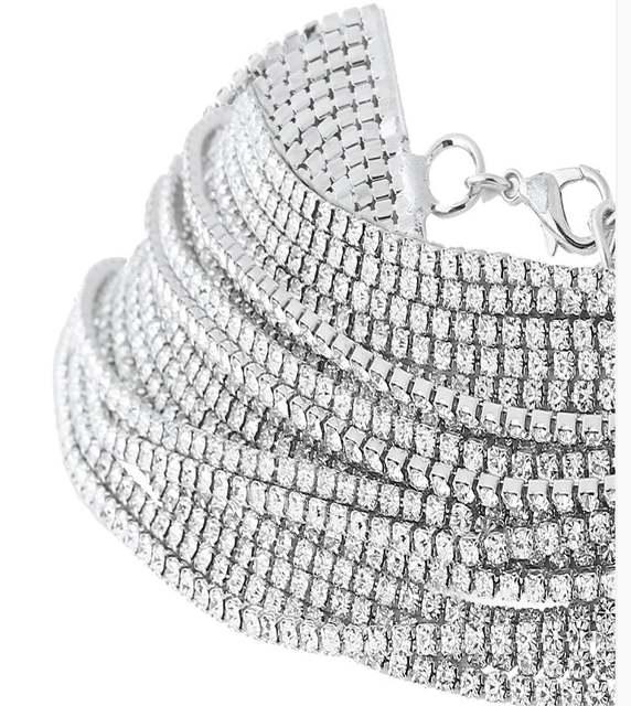 2018 Women s Wide Neck Rhinestone Choker Necklace Big sparkly choker  Fashion jewelry Trendy Chocker efeeaac1f252