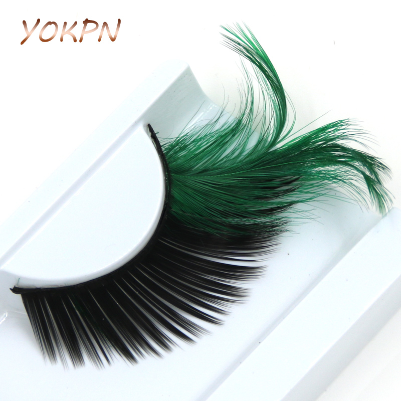 YOKPN Green Crisscross Black False Eyelashes Feather Exaggerated Messy Winged Fake Eyelashes Latin Made Makeup Eye Lashes