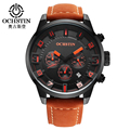 OCHSTIN Brand Watch Men Sport Watches Casual Men's Leather Strap Quartz Waterproof Chronograph Clock Fashion Military Watch