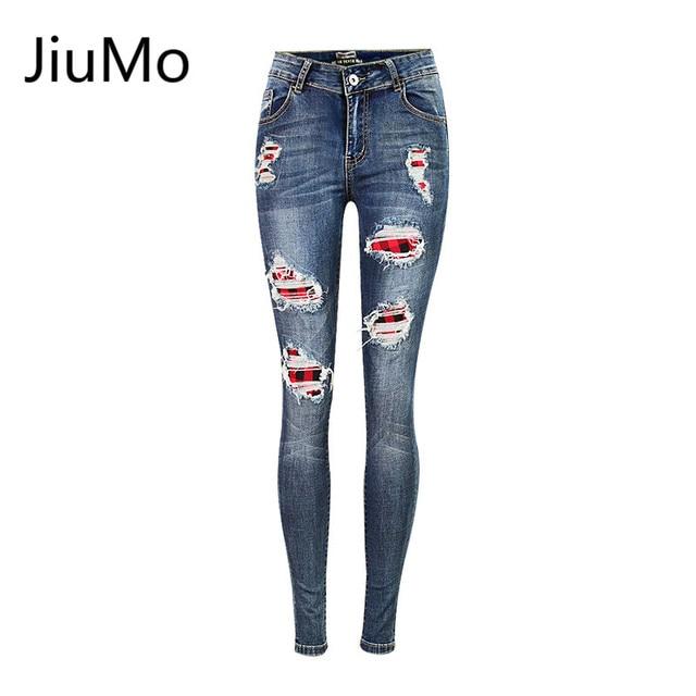 64aa1d02a4 JiuMo 2017 Nuevas Damas de Algodón de Mezclilla Pantalones Elásticos Para  Mujer de Estiramiento Delgados Jeans