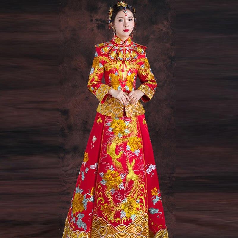 2018 красный Cheongsam длинное Ципао платье Традиционный китайский Свадебные платья для женщин феникс вышивка невесты традиции