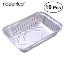 10 шт. Олова коробка с фольгой совершать одноразовая коробка контейнер для выпечки для барбекю гриль
