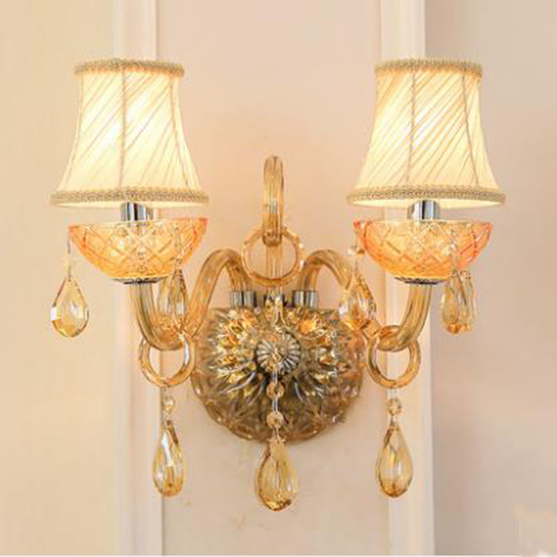 Modern Amber Crystal Wall Lamp Decorative Candle Wall Sconce Hotel room Home bedroom study room Wall Lighting with Facbric Shade