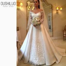 Sheer Lace A Line Wedding Dress 2019 Appliques Off Shoulder Long Sleeves Detachable Train Bridal Gown Custom Made Plus Size цена в Москве и Питере