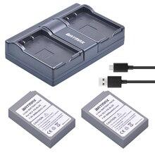 2000mAh 2Pcs BLS 5 BLS5 BLS50 Battery Dual USB Charger for Olympus PEN E PL2 E
