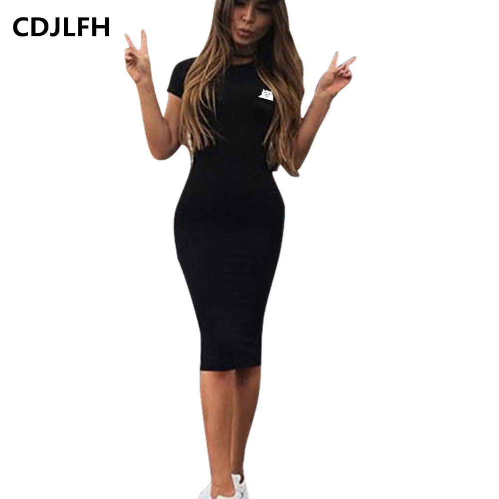 CDJLFH Plus Size Ladies Sexy Black Mini Dress Bodycon
