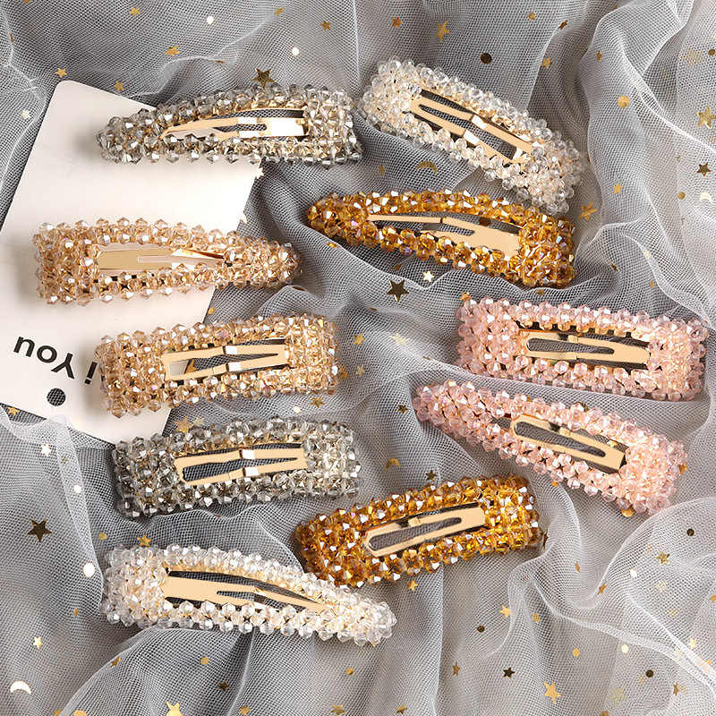 New Ins Luxury Shine Crystal Rectangle Hair Clip Cute Headwear Hair Ornament Hairpin Barrettes Headband Fashion Hair Accessories