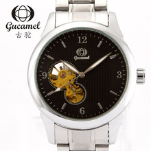Gucamel диаметр диска 41 мм мужская мода деловой случай часы автоматические механические часы полые браслет из нержавеющей стали