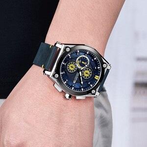 Image 4 - ساعات رجالي من MEGIR باللون الأزرق كوارتز بحزام جلدي من العلامة التجارية الأعلى ساعة معصم رياضية كرونوغراف للرجال ساعة رجالية