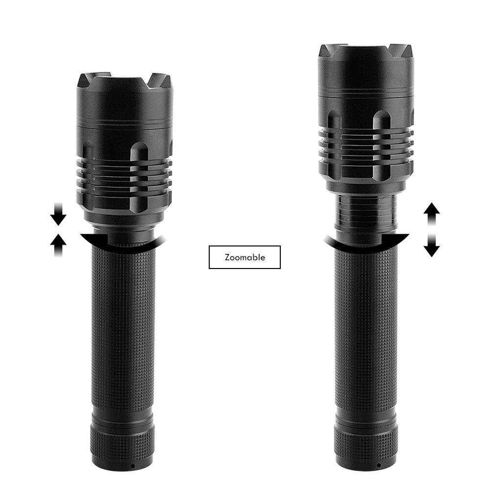 BORUiT 20W XHP50 LED Flashlight Zoom Tactical Flashlight Hunting Aluminum Lanterna LED Torch For Camping Emergency Lighting