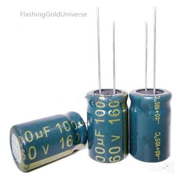 160 V 100 UF 100 UF 160 V pojemność kondensatora elektrolitycznego 13*21 najwyższej jakości tanie i dobre opinie FlashingGoldUniverse CN (pochodzenie) Ogólnego przeznaczenia Przez otwór 160V 100UF 160V Naprawiono pojemnościowe Aluminium kondensator elektrolityczny