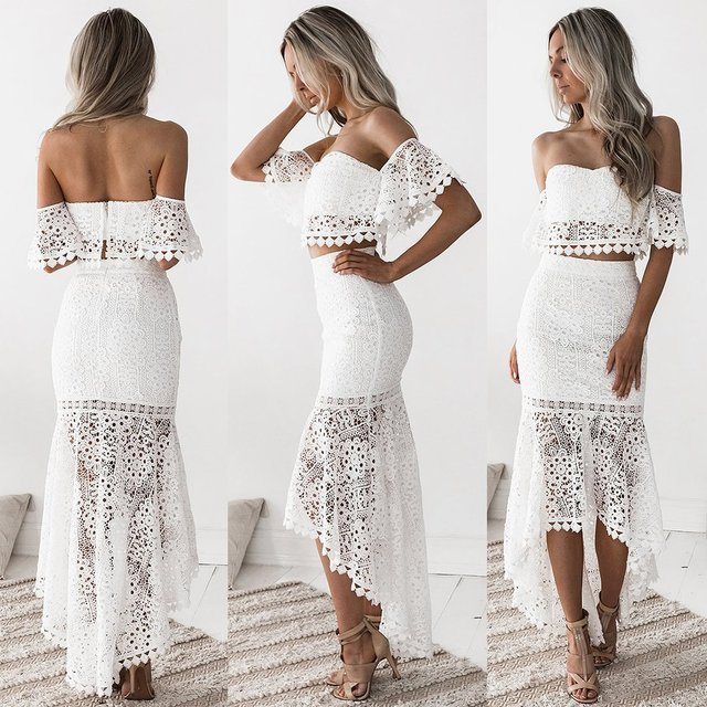b51b8270f3f Sexy Women Party Suit Elegant Two Piece Sets Party Outfits White Lace  Bodycon Strapless Crop Top Pencil Skirt Vestidos De Fiesta