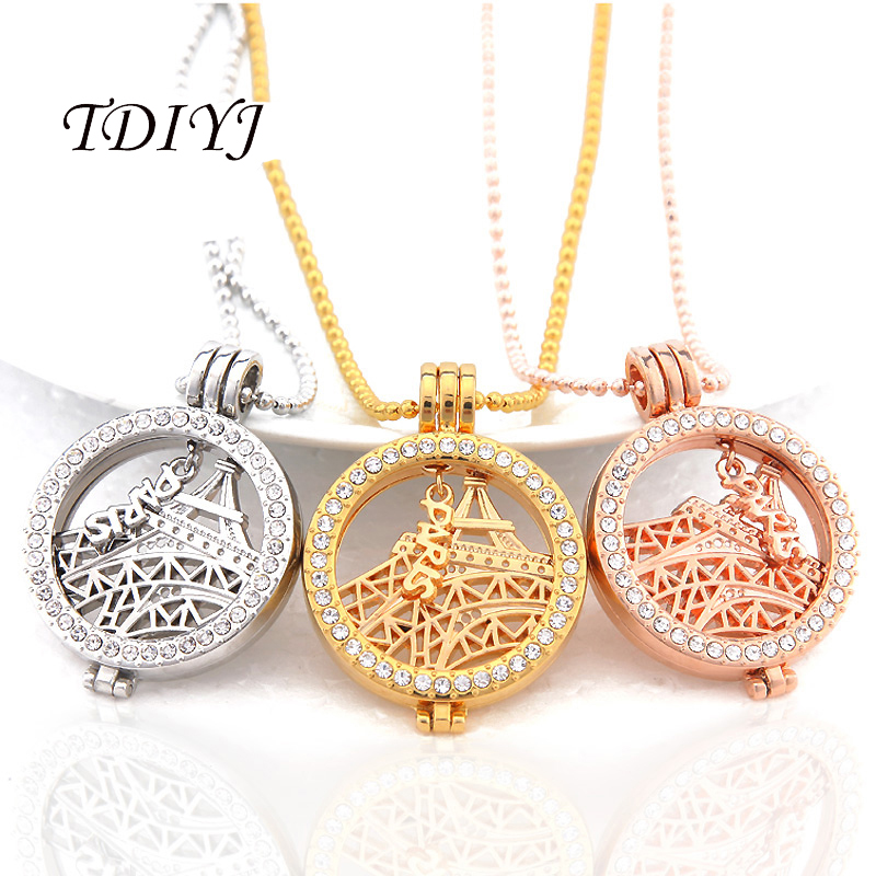 Interchangeable Disc Necklace: TDIYJ New Arrival Romantic My Coin 33MM Mixed Eiffel Tower