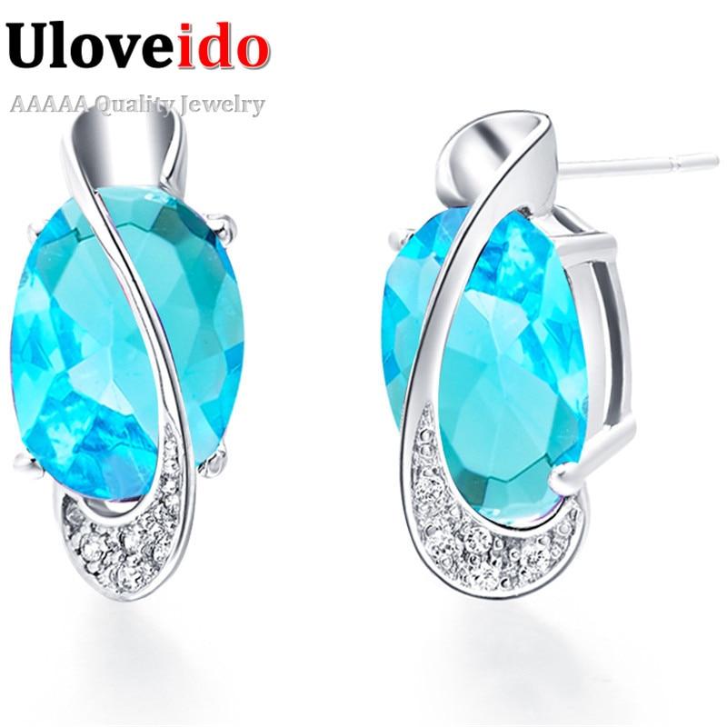 cb026d90c4bb Mujer joyería Pendientes 2016 moda de compromiso Pendientes para las  mujeres Pendientes con piedra azul joyería roja de las mujeres 5% de  descuento r501