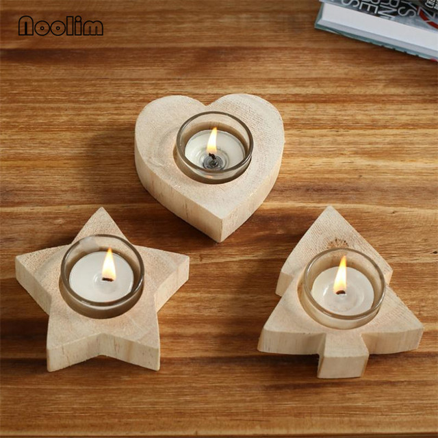 Wooden Candle Holders Decoration Tree Star Heart Design Wooden Candlestick Holder Flower Pot for Home Bar Garden Christmas Gift