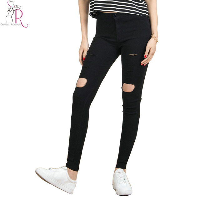 Aliexpress.com : Buy Women Black Skinny Ripped Hole High Waist ...