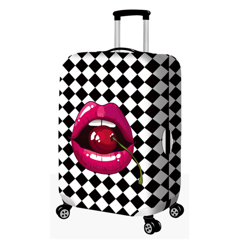 Thicker 3D Printing Luggage Protective Cover Elastic Cute Cartoon Lips Dust Cover Bags For Trunk Case Travel Suitcase Accessory