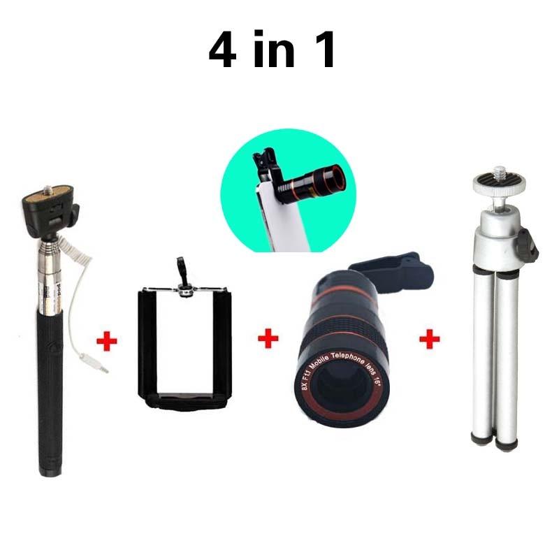 Varm försäljning 4in1 8X Zoom Teleskop Kameralins + min Tripoid + - Reservdelar och tillbehör för mobiltelefoner