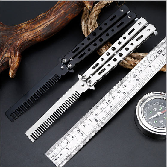 Black Silver Stainless Steel Practice Butterfly In Knife Balisong Trainer Training Folding Knife Comb Dull Tool Outdoor Camping 7 in 1 multifunctional portable tungsten steel knife scissors tool set blue black