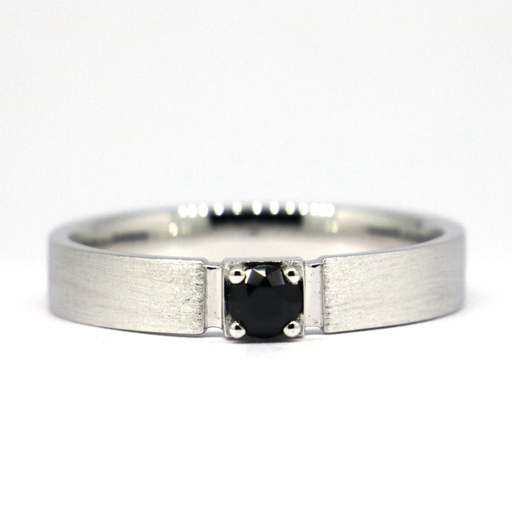 Wellmade 7mm Black CZ Solid 925Sterling Silver Band Ring цена и фото