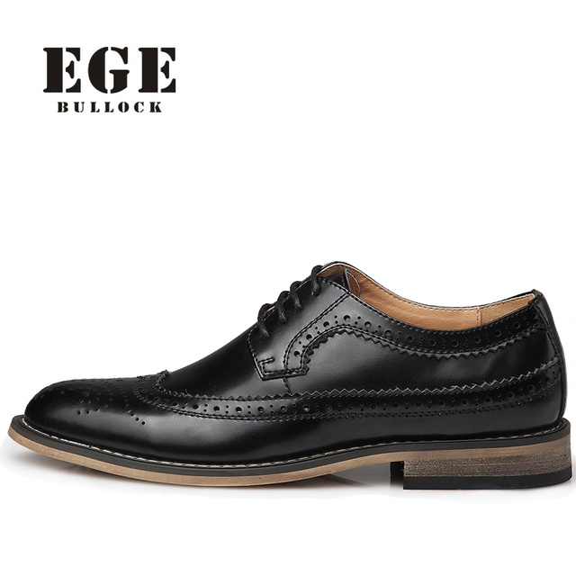 EGE High Quality Genuine Leather Bullock Men Flats Shoes Casual British Style Men Oxfords Fashion Brand Dress Shoes For Men