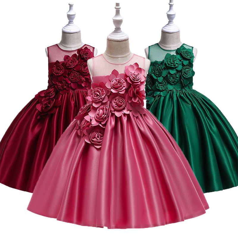 c4316ac8033 Детское праздничное платье принцессы с объемной цветочной вышивкой на день  рождения для девочек