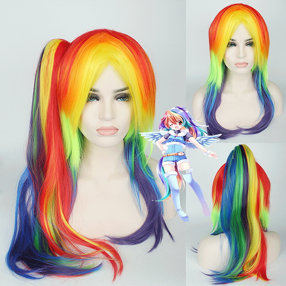 65cm My Little Pony Colorful Rainbow Wig Cosplay Anime Straight Women Synthetic Hair Wigs With Claw Ponytail Heat Resistant