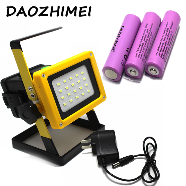 Led Spotlight 18650 light 30W 20leds light Waterproof Outdoor led rechargeable Flood light US EU charger 3x18650 battery