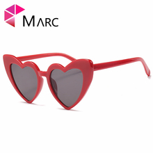 MARC UV400 WOMEN Love heart sunglasse sol Pink Plastic Gradient White Oculos eyewear gafas recommend fashion R