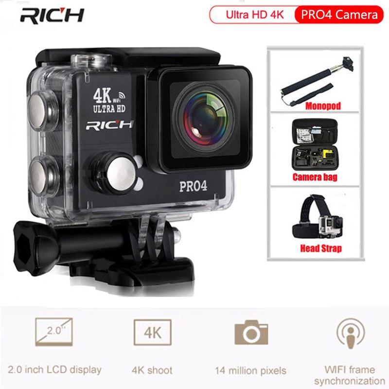 RICH Ultra HD 4K Pro4 Action Camera 1500mah battery WiFi Waterproof 45M Time Lapse 170 Wide Lens Slow Motion Sport Camera тв модуль ci триколор k m evr единый ultra hd европа