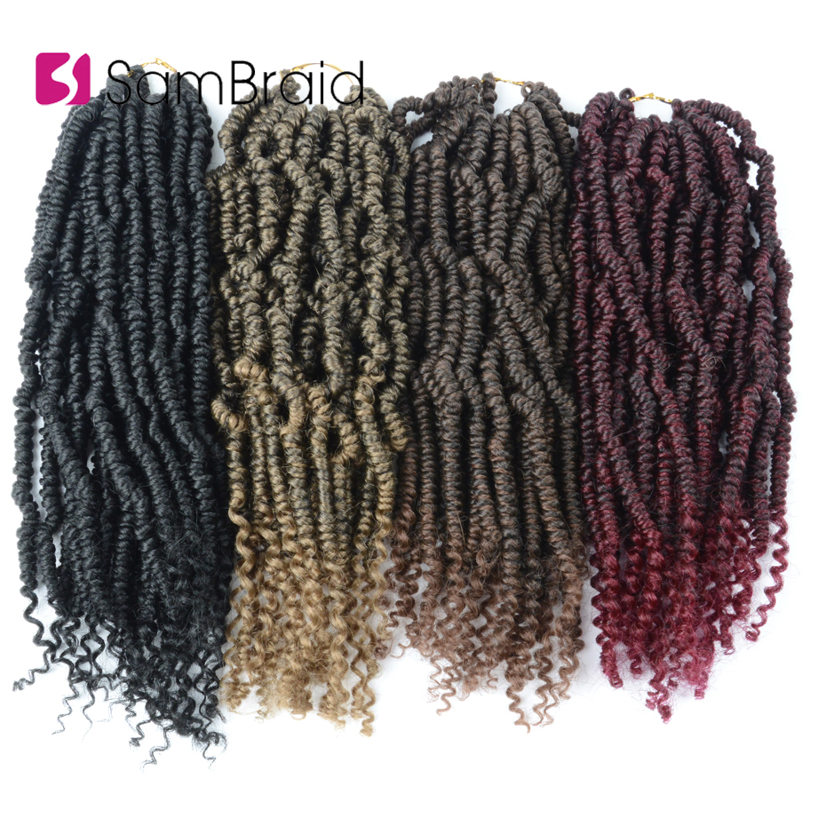SAMBRAID Nubian Twist Faux Locs Crochet Hair 12 Inch Passion Twist Hair Synthetic Hair Pre Stretched Braiding Hair Extensions