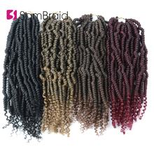 цена на SAMBRAID Nubian Twist Faux Locs Crochet Hair 12 Inch Passion Twist Hair Synthetic Hair Pre Stretched Braiding Hair Extensions