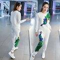 2016 Hot Phoenix Lantejoulas Mulheres de Treino De Veludo Camisola Hoodies + Calça Sportwear Trajes terno de Trilha de 2 Peça Definir AE48