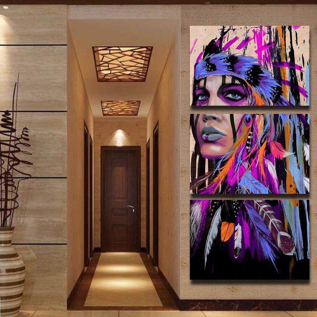 Modular Canvas Wall Art Printed Pictures Frame 3 Pieces American Indian Painting Feathered Poster Home Decor Living Room PENGDA