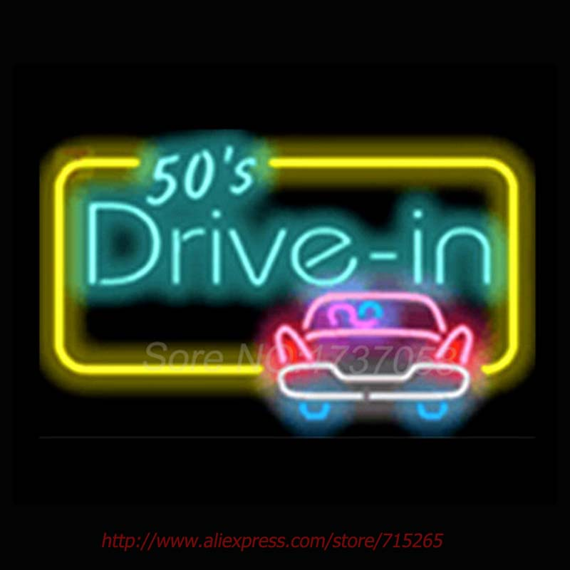50s Drive In Signboard Neon Sign Bright Neon Bulbs Real Glass Tubes Handcrafted Recreation Room Free Custom LOGO Design 17x14