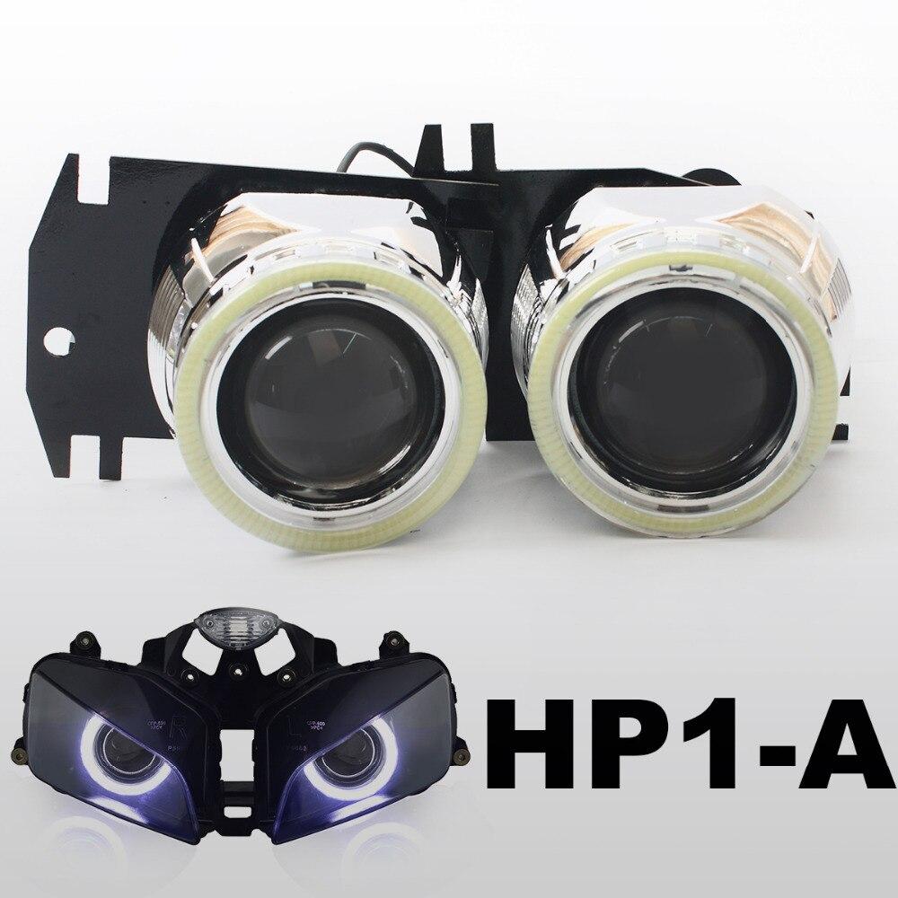 KT Headlight Suitable for Honda <font><b>CBR600RR</b></font> 2003-2006 <font><b>LED</b></font> Angel Eyes Motorcycle HID Bi-xenon Projector Lens 2004 2005