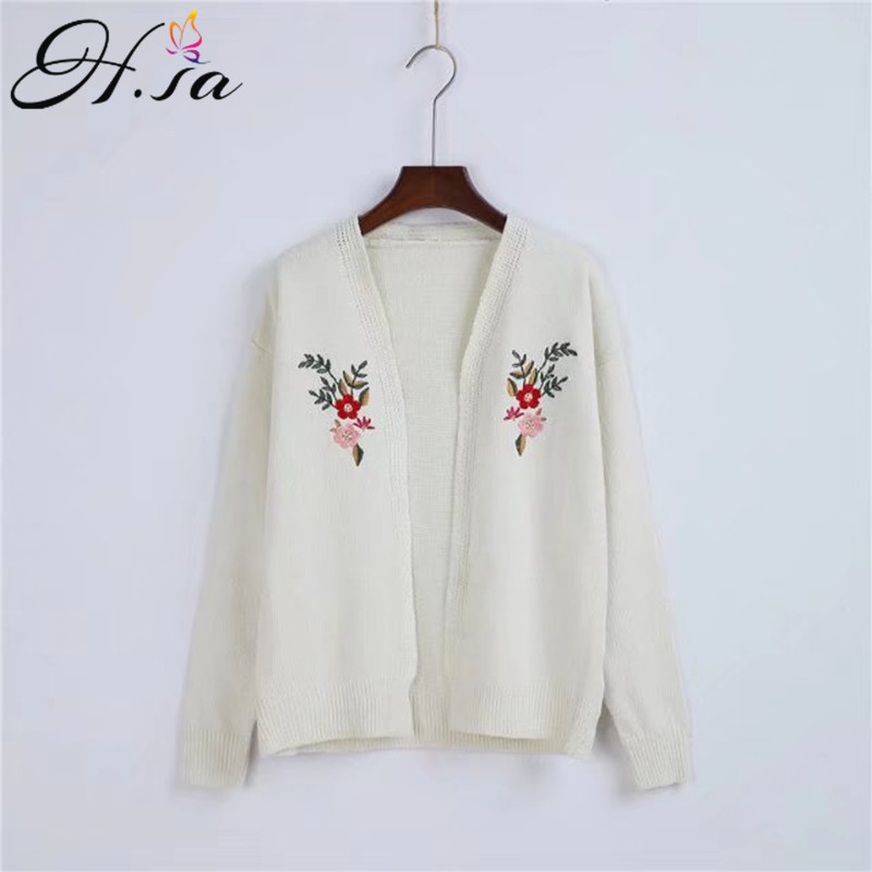H.SA European Style 2017 Women Sweater Cardigans Floral Embroidery Cardigans Poncho Femme Winter Autumn Basic Sweater Jumper
