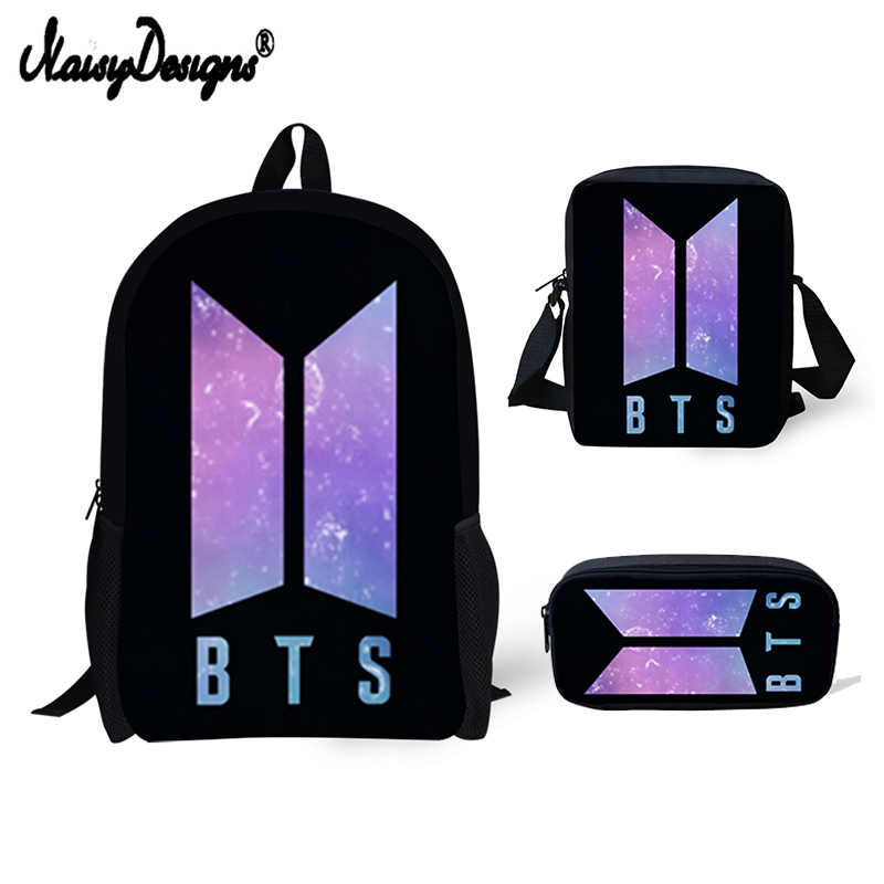 ... 3 PCS SET 3D BTS Letter Printing Backpacks Children Bookbag Girls  Mochila 2018 BTS Shoulder Bag ... 108b2949aaf55